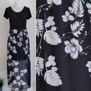 VINCE CAMUTO Floral Print Overlay Skirt Maxi Dress
